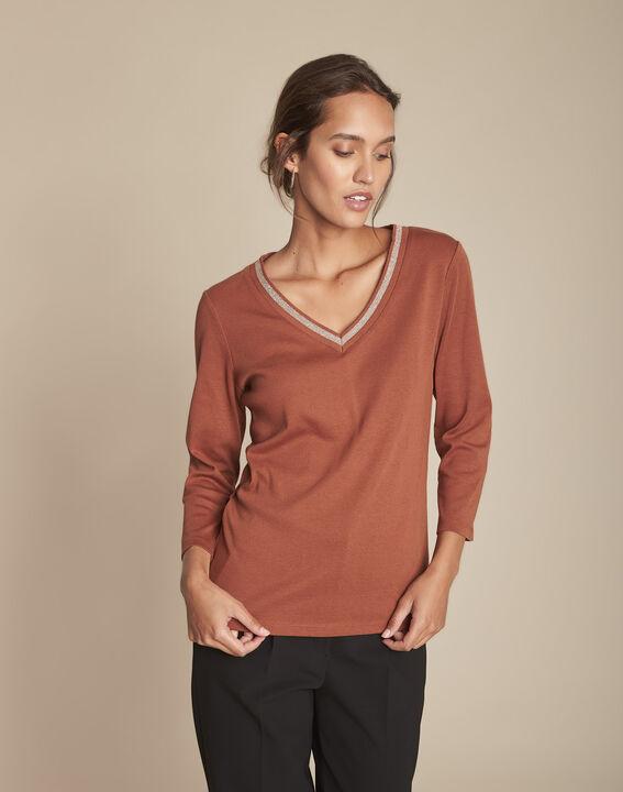 Tee-shirt acajou encolure V Calypso PhotoZ | 1-2-3