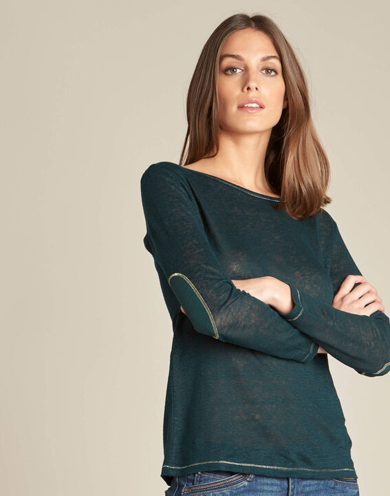 Elin fine forest green T-shirt in linen with golden topstitching (3) - 1-2-3
