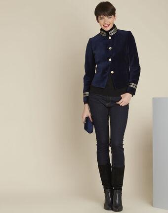 Samana navy velvet officer-style jacket.