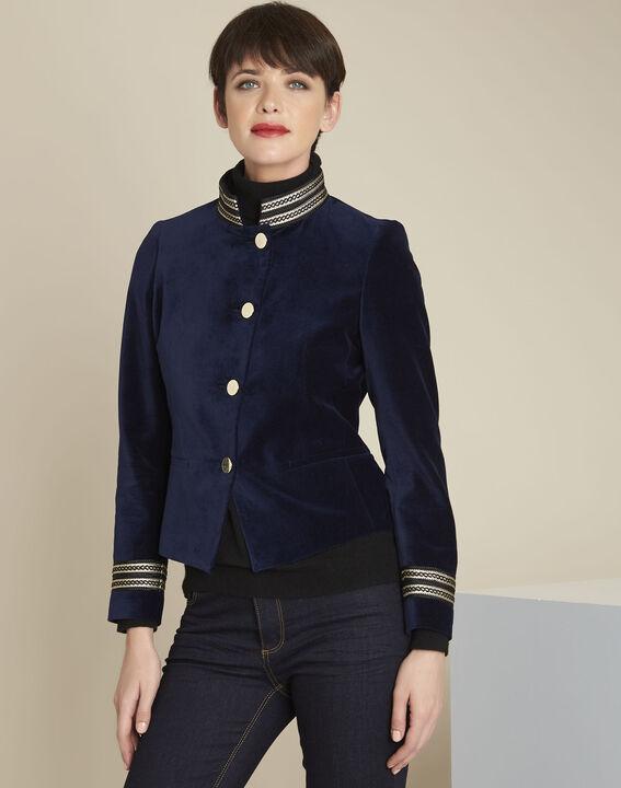 Marineblaue Offiziersjacke aus Samt Samana PhotoZ | 1-2-3