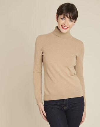 Berceuse camel turtleneck cashmere pullover camel.