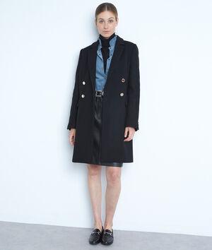 Manteau droit en laine recylée noir à boutons dorés Lorine