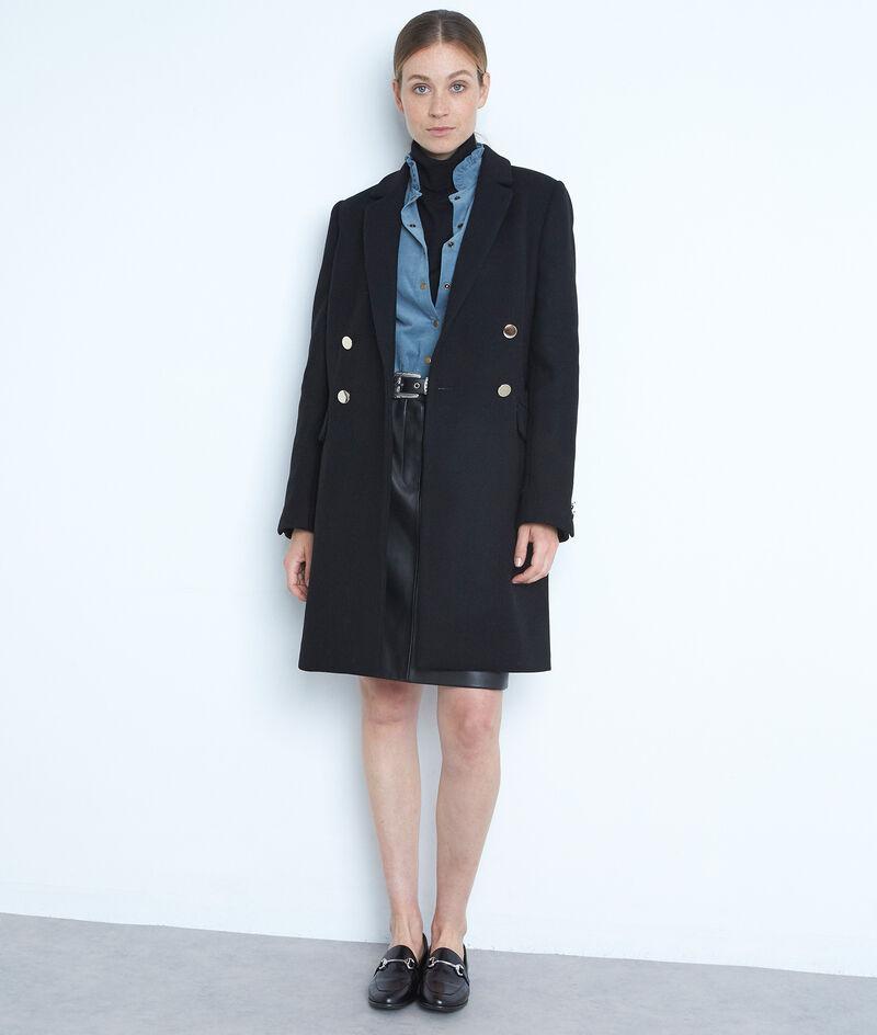 Manteau droit en laine recylée noir à boutons dorés Lorine PhotoZ | 1-2-3