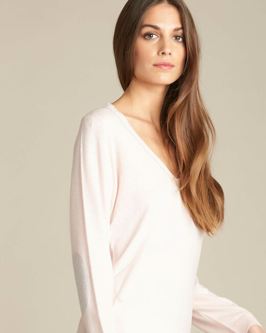 Newyork pale pink sweater in wool and silk with shiny neckline (1) - 1-2-3