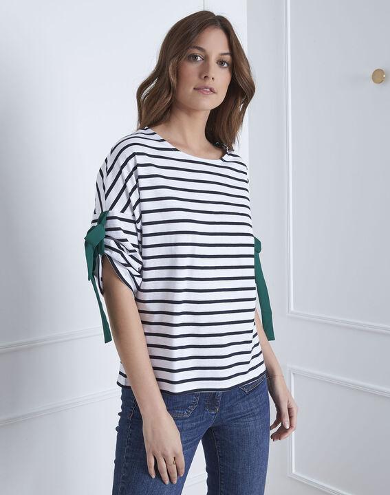 Tee-shirt blanc rayé liens à nouer Portland PhotoZ | 1-2-3