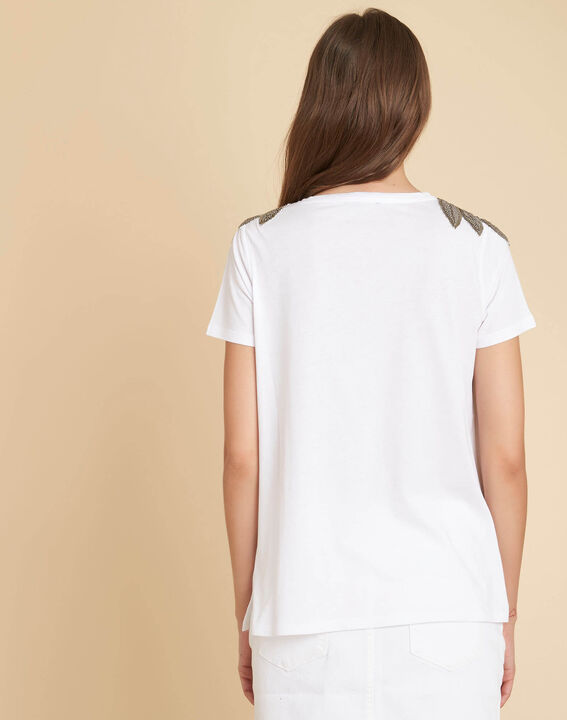 Epique white T-shirt with embroidered detailing on the shoulders (4) - 1-2-3