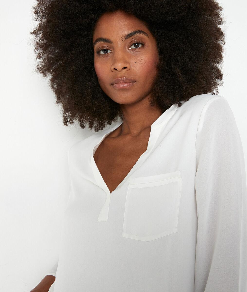 Witte blouse uit twee materialen Witney PhotoZ   1-2-3