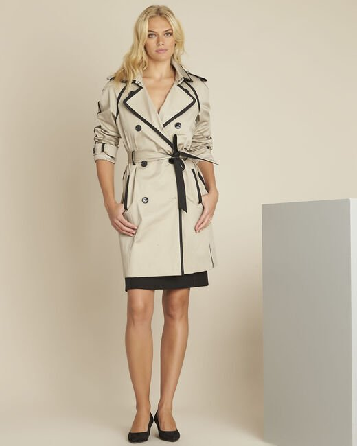 Eloise camel trenchcoat with contrasting bias (1) - 1-2-3