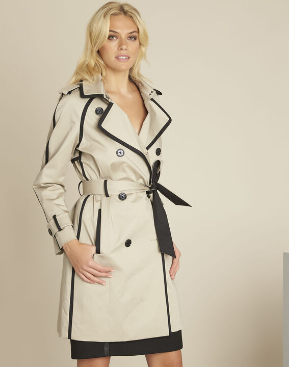 Eloise camel trenchcoat with contrasting bias (1) - Maison 123