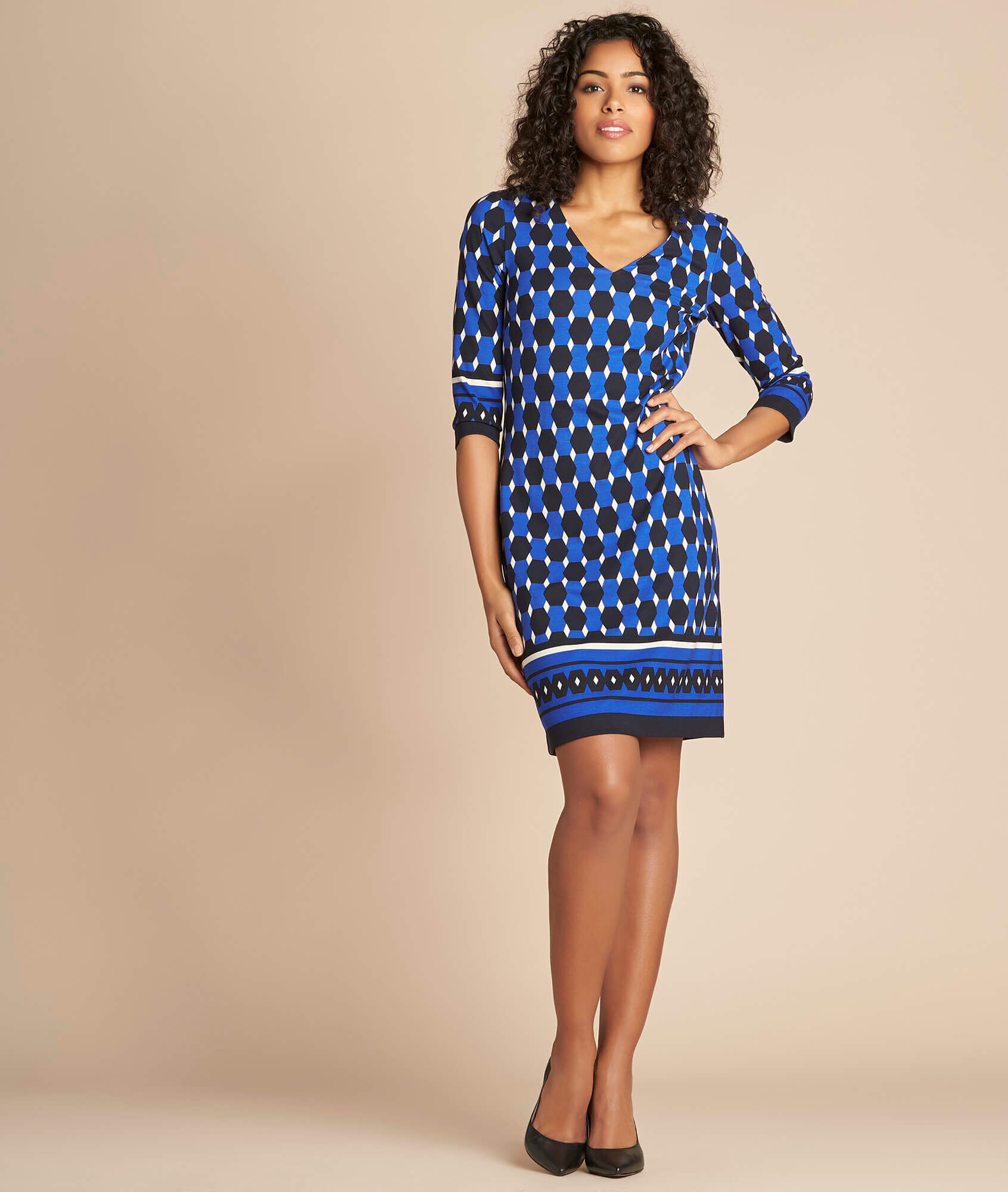 Robe bleue imprimé graphique Delila (1) - 1-2-3