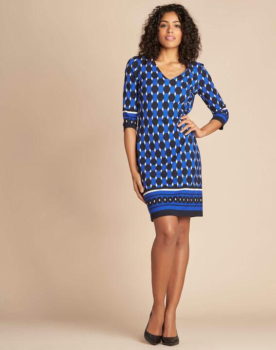 Blaues Kleid mit grafischem Print Delila (2) - 1-2-3