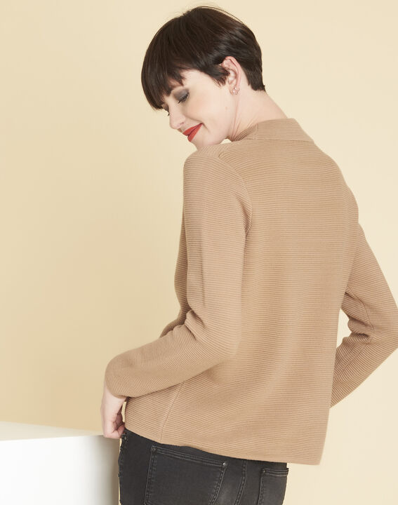 Pull beige maille fine col montant Belize (4) - 1-2-3