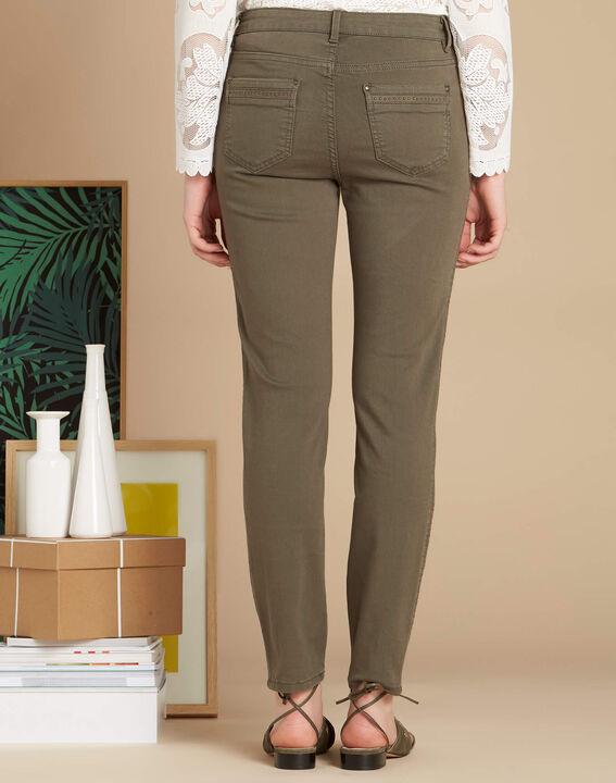 Vendôme 7/8 length khaki jeans with studded detailing (4) - 1-2-3