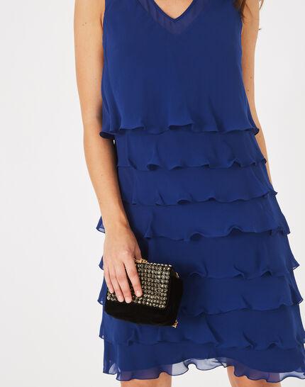 Blaues Volant-Kleid aus Seide Flower (3) - 1-2-3