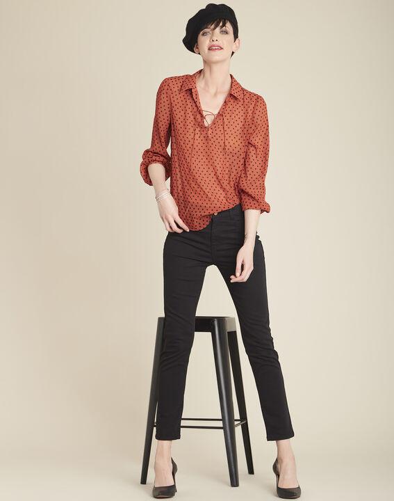 Vendôme 7/8 length slim-cut black cotton satin jeans (2) - 1-2-3