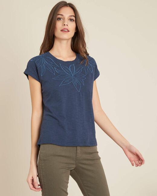 Blaues T-Shirt mit Blumenstrickereien Ebrode (2) - 1-2-3