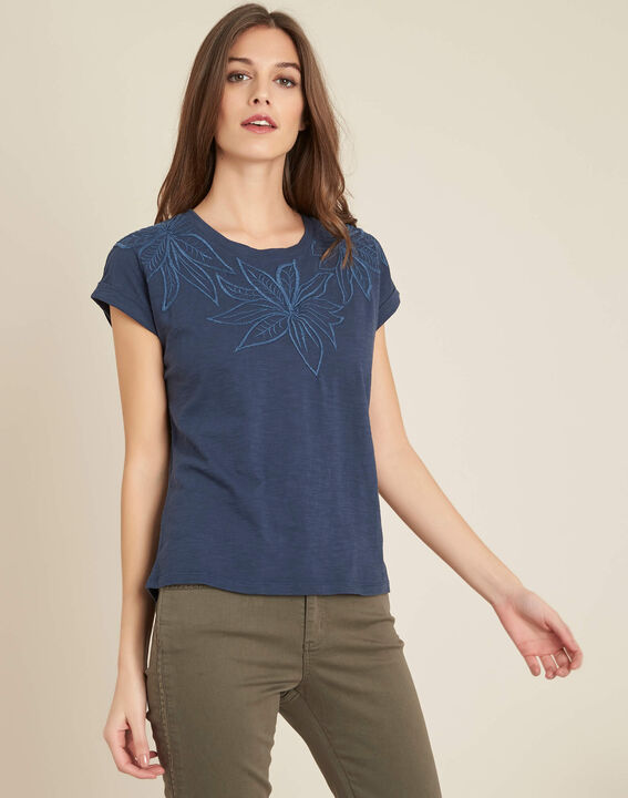 Ebrode blue T-shirt with embroidered flowers (3) - 1-2-3