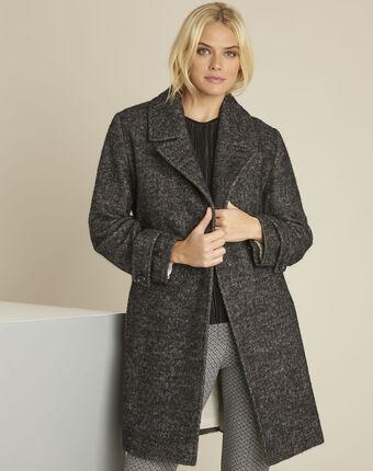 Manteau gris chiné en laine mélangée elaine chine moyen.