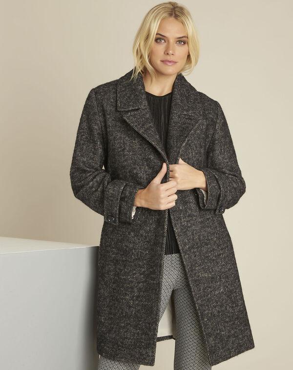 Manteau gris chiné en laine mélangée Elaine (1) - 1-2-3