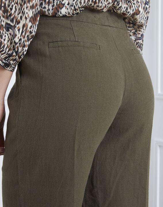 Pantalon kaki large en lin Gobi (4) - Maison 123