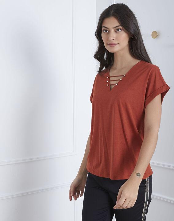 Tee-shirt marron laçage Papeete (1) - Maison 123