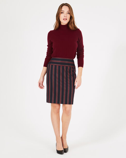 Loane tailored burgundy striped pencil skirt (1) - 1-2-3