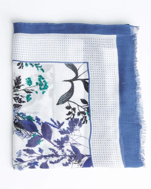 Foulard imprimé jardin bleu Adriane (1) - 1-2-3