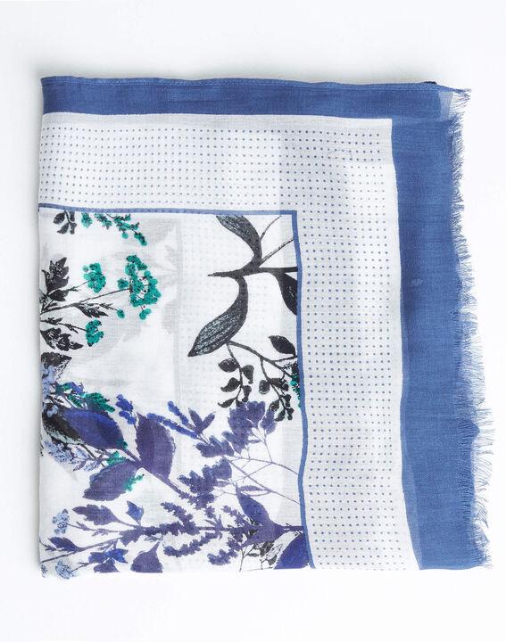 Blauw sjaaltje met natuurlijke print Adriane (2) - 37653