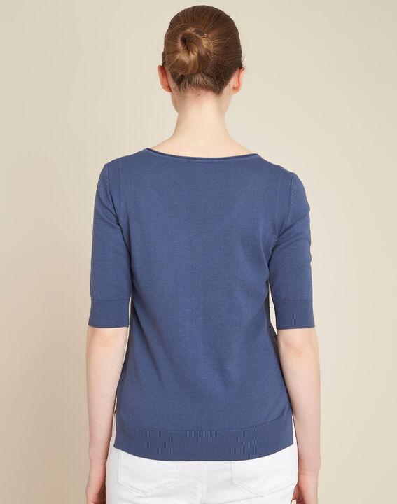 Blauer Pullover mit Blumenprint Nouette (4) - 1-2-3