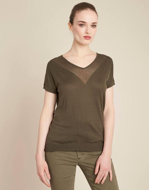 Never khaki, fine-knit sweater with openwork neckline (3) - 1-2-3