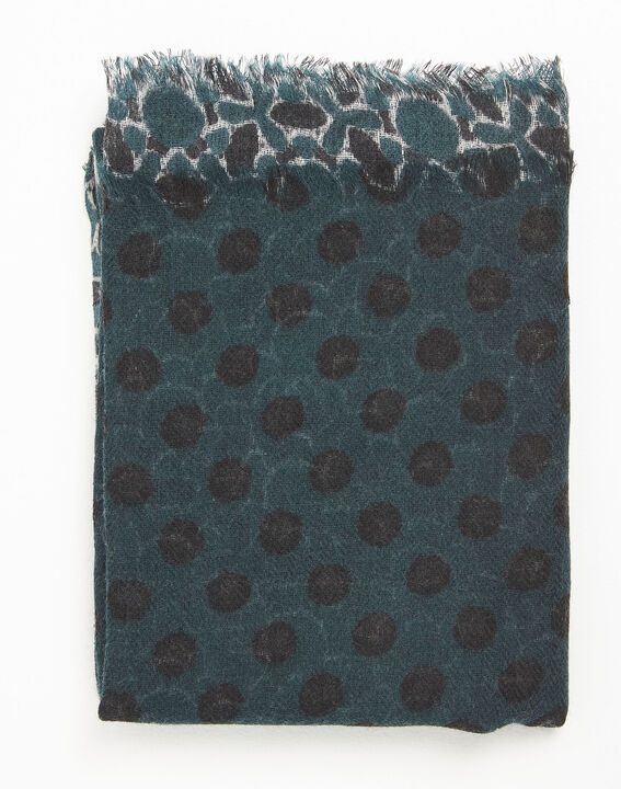 Fan dark green printed wool scarf (1) - 1-2-3
