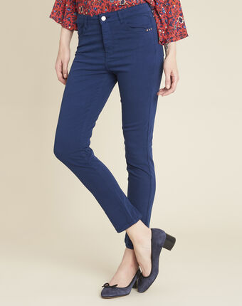 Vendôme 7/8 length slim-cut cobalt blue cotton satin jeans blue.