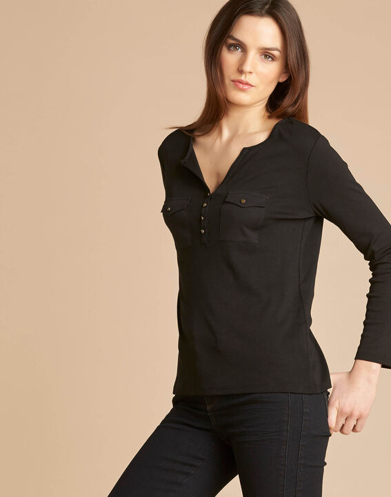 Edith black T-shirt with 3/4 length sleeves (3) - 1-2-3