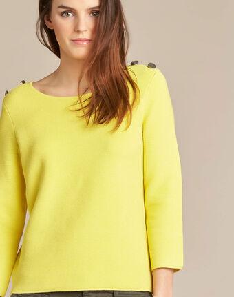 Neroli lemon sweater with 3/4 length sleeves lemon.