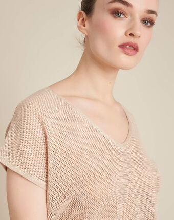 Noix short-sleeved fine-knit gold sweater gold.