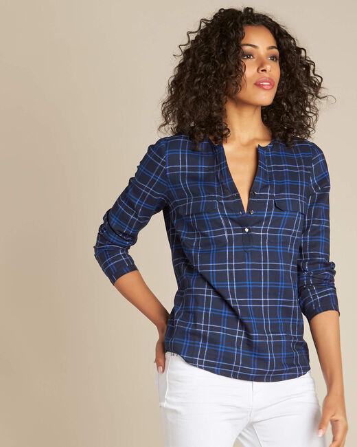 Marineblauwe blouse met ruitjes Murielle (2) - 37653