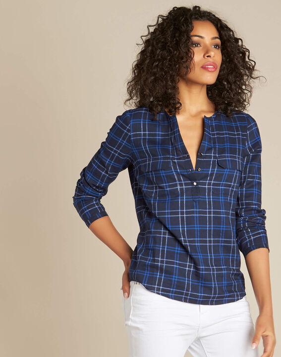 Murielle navy blue check shirt (3) - 1-2-3