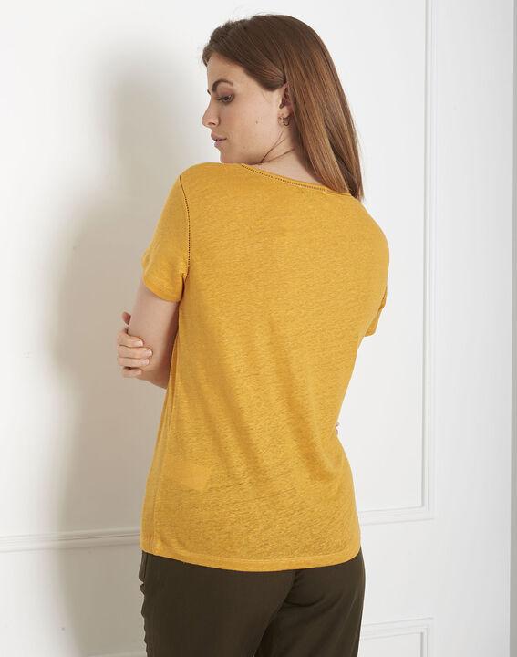 Tee-shirt jaune jour échelle en lin Pin (3) - Maison 123
