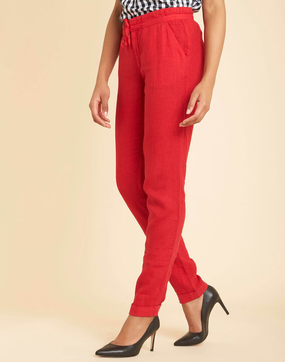 Pantalon rouge en lin Joris (3) - 1-2-3