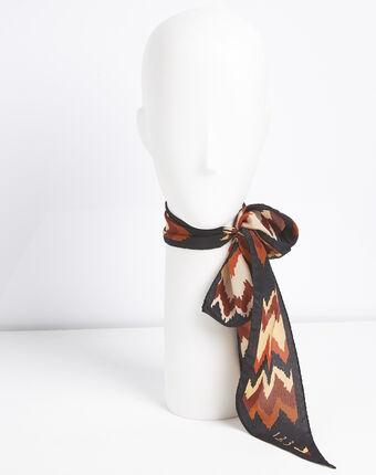 Zijde riem met boheemse print fanette corail.