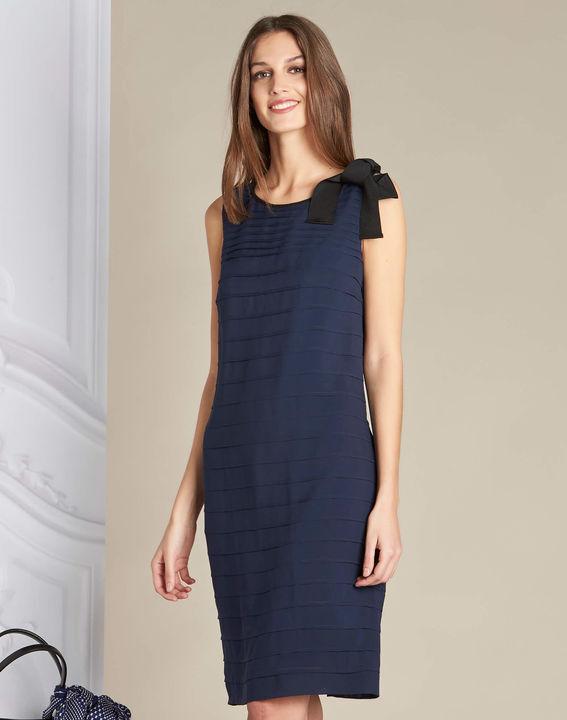 Marineblauwe jurk van zijde met volants Ines PhotoZ | 1-2-3
