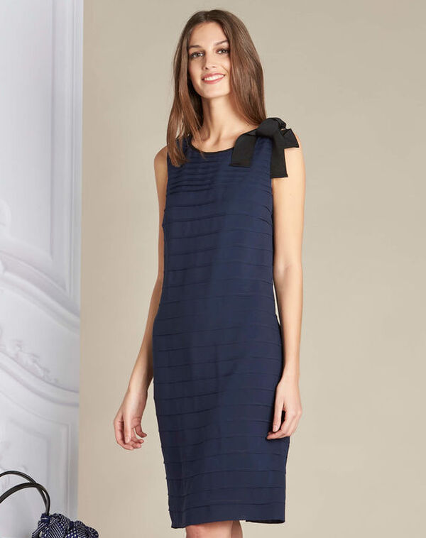 Ines silk navy dress with frilled detailing (1) - 1-2-3