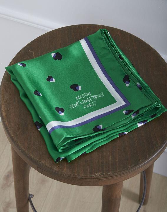 Carré de soie vert imprimé pois Oasis (1) - Maison 123