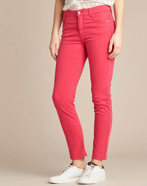 Fuchsienrote Slim-Fit-Jeans normale Leibhöhe Vendome (3) - 1-2-3