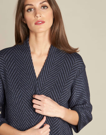 Narnica navy blue printed jacket with cowl neckline navy.