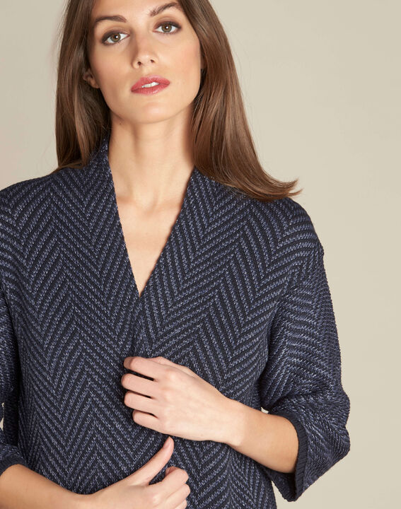 Narnica navy blue printed jacket with cowl neckline PhotoZ | 1-2-3