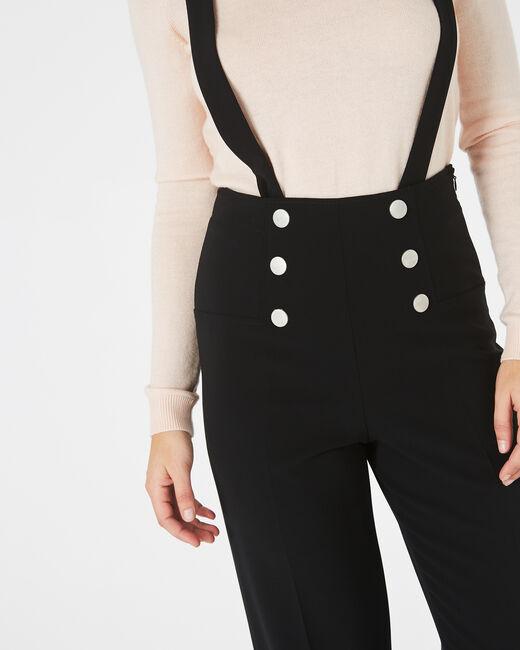 Pantalon de tailleur noir boutonné à bretelles Valeur (2) - 1-2-3