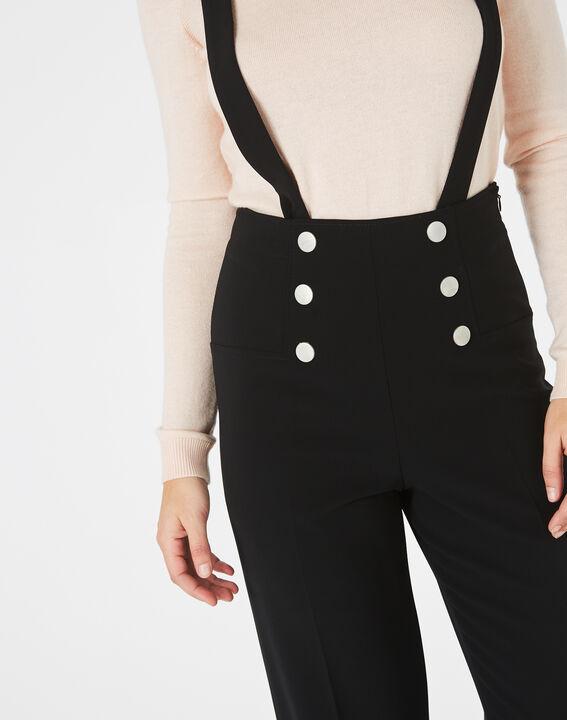 Pantalon de tailleur noir boutonné à bretelles Valeur (3) - 1-2-3