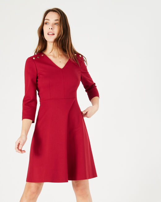 Paix flowing red dress with golden buttons (1) - 1-2-3