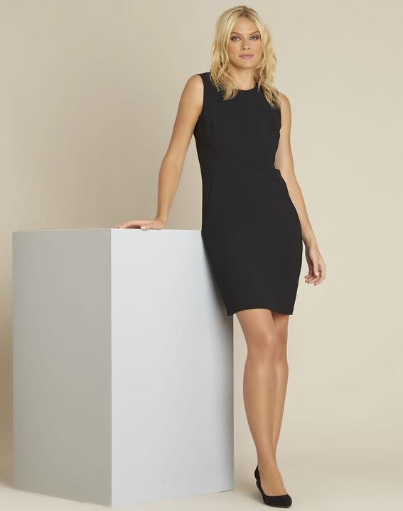 Zwarte strakke jurk van crêpe Dream (3) - 37653